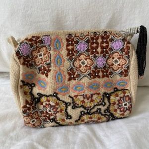 Anthropologie Beaded Cosmetic Bag
